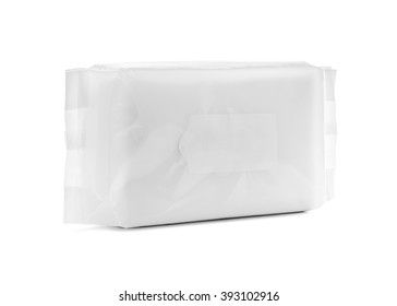blank packaging paper wipes pouch isolated on white background with clipping path