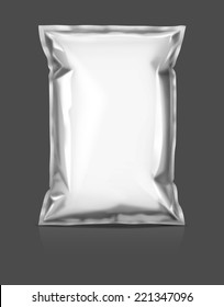 blank packaging snack pouch isolated on gray background
