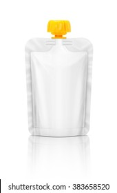 Blank packaging squeeze pouch isolated on white background with clipping path