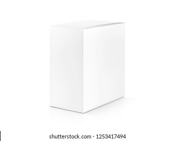 blank packaging white cardboard box isolated on white background with clipping path ready for product design