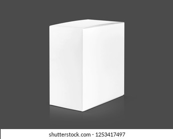 blank packaging white cardboard box isolated on gray background with clipping path ready for product design