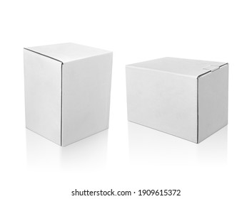 blank packaging white cardboard box isolated on white background ready for packaging design