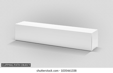 blank packaging white cardboard paper box for product design isolated on virtual transparency grid background with clipping path