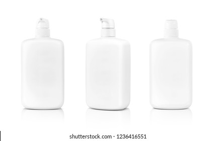 blank packaging white cosmetic cream pumping bottle isolated on white background with clipping path ready for product design