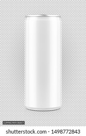 blank packaging white tin can for drink beverage product design mock-up isolated on virtual transparent grid background with clipping path