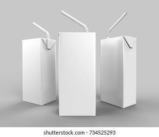 Blank Packet Carton Juice & milk pack with straw White Realistic Rendering for mock up template design. 3D Illustration