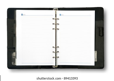 Blank page of note book on white isolate