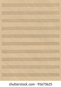 A blank page of sheet music with ruled hand drawn lines made to look like aged parchment