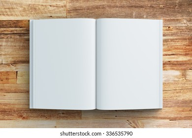 Blank pages of diary on wooden table, mock up