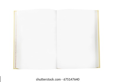 Blank pages in open book isolated on white background
