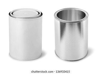 Blank paint cans metal dummy isolated on white