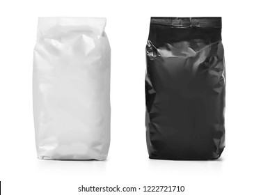 Blank paper bag package of flour isolated on white