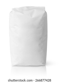 Blank paper bag package of salt isolated on white with clipping path