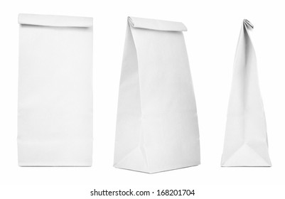 Blank paper bag set isolated on white background. Paper bags with copy space