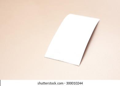 Blank Paper Bill on Golden Background.