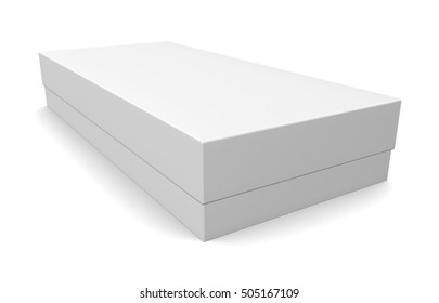 Blank paper box isolated on white background. 3d render