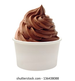Blank paper or cardboard cup with soft chocolate ice cream isolated on white background