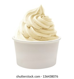 Blank paper cup with soft vanilla ice cream on white background