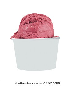 Blank Paper Cup With Strawberry Soft Ice Cream