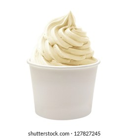 Blank Paper Cup With Vanilla Soft Ice Cream On White Background