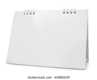 blank paper desk calendar with soft shadows, isolated on white
