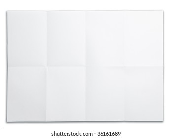 Blank paper with fold mark. isolated on white. Excellent for overlaying project drawings and plans