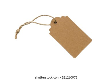 Blank paper gift tag with twine attached, isolated on white
