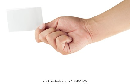 Blank paper in human hand and white background