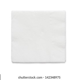 Blank paper napkin isolated on white background with copy space