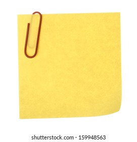 Blank paper note with clip on white background