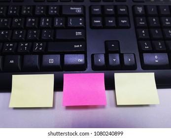 blank paper note on keyboard