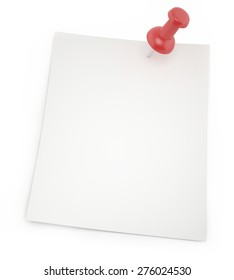 Blank paper for notes with shadows thumbtack isolated on a white background. 3d illustration
