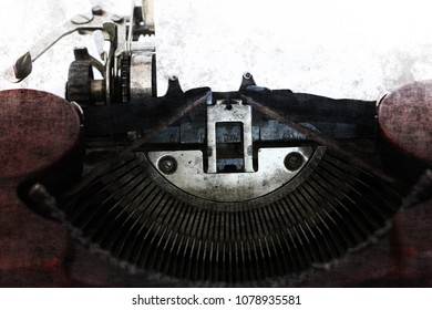 Blank paper in the old typewriter machine in grunge style - copy space