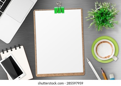 blank paper on clipboard top view o