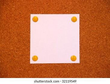 blank paper on cork board