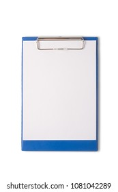 Blank paper on pad clipboard isolated on white background.With clipping path and no shadow.
