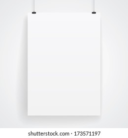 Blank paper poster on white wall. Raster version.