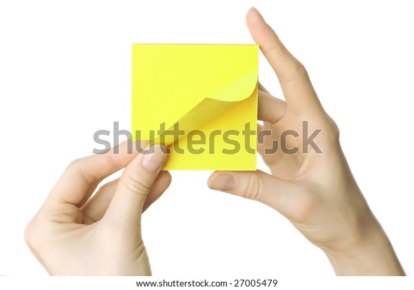 Blank paper reminder in hands