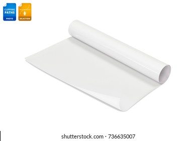 Blank paper roll isolated on white background. Glossy sticker paper for design business. Clipping paths object.