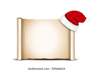 Blank Paper With Santa Hat on a white background