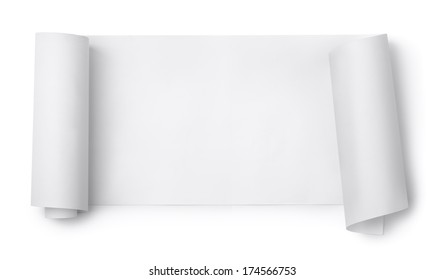 Blank paper scroll isolated on white