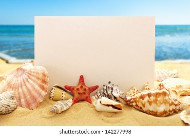 Blank paper with seashells and starfish on the sandy beach at ocean background