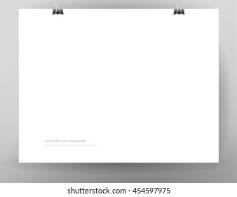 Blank paper sheet hanging isolated. Placard, banner, poster, advertisement backdrop template. Mock up. Text place. Business advertising sample.