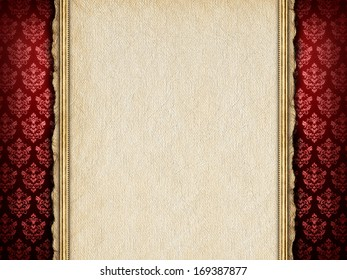 Blank paper sheet on red patterned background
