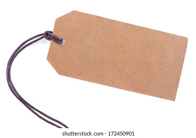 Blank paper tag with string isolated on white background