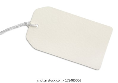Blank paper tag with string isolated on white with clipping path