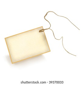 Blank paper tag tied with long string