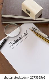 Blank paper with Testimonial word.