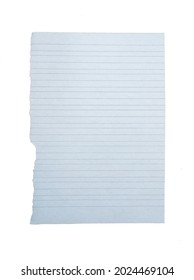 Blank paper with wide and narrow rows. The page was torn from the notebook and isolated on white.