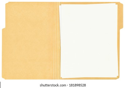 Blank papers in an open manila folder isolated on a white background.